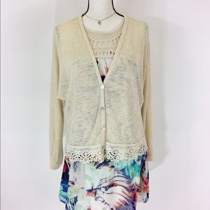 Forever 21 Cream Lace Sweater XL